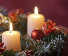 Advent wreath with burning candles for the pre Christmas time